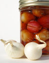 Jar of pickled onions Stock Photos