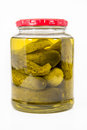 Jar of pickles isolated on a white background Royalty Free Stock Image