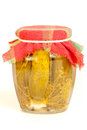 Jar of pickles on white isolated Royalty Free Stock Photo