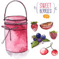 Jar of pink jam and berries. strawberry, blackberry with leaves, cherry, raspberry and orange slice Royalty Free Stock Photo