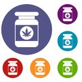 Jar of powder marijuana icons set