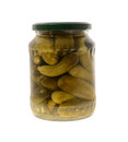 Jar preserved pickles cucumber isolated white background Royalty Free Stock Images