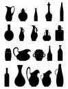 Jar silhouettes set of silhouette vases jars and bottles icon Royalty Free Stock Photos