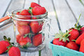 Jar of strawberries glass filled with Royalty Free Stock Image