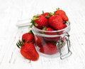 Jar with strawberries Royalty Free Stock Photo