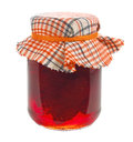 Jar of strawberry jam isolated