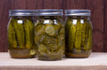 Jars of fresh preserved pickles Royalty Free Stock Image