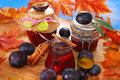 Jars with homemade plums preserves three and fresh fruits on wooden table in autumn scenery Stock Image