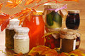 Jars of homemade preserves in autumn scenery vegetables fruits and mushrooms Stock Photography