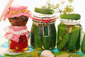 Jars of homemade vegetable preserves Royalty Free Stock Image
