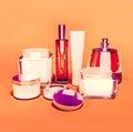 Jars of moisturizing face cream. Royalty Free Stock Photo