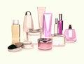 Jars of moisturizing face cream a white background. Royalty Free Stock Photo