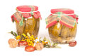 Jars in the pantry on white isolated Royalty Free Stock Photos