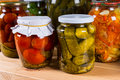 Jars of Preserved Vegetables Royalty Free Stock Photo