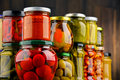 Jars with variety of pickled vegetables preserved food Royalty Free Stock Image