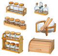 Jars with wooden spoon and wooden bread box Stock Image