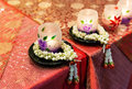 Jasmine garland and light for worship on the table in chinese temple Stock Image