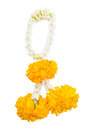 Jasmine garland with marigold isolated on white background Royalty Free Stock Photography