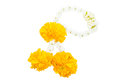 Jasmine garland with marigold isolated on white background Stock Images