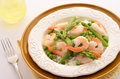 Jasmine rice with prawns peas and asparagus for a healthy meal Royalty Free Stock Photo