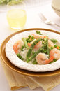 Jasmine rice with prawns peas and asparagus for a healthy meal Stock Image