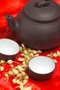 Jasmine tea over red silk Royalty Free Stock Image