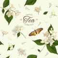 Jasmine tea seamless pattern