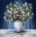 Jasmine in a white vase Stock Photography