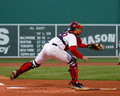 Jason varitek boston red sox catcher pulls a pitch down the rightfield line Royalty Free Stock Photography