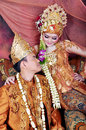 Javanesse Moslem Couple in Traditional Wedding Royalty Free Stock Photo