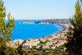 Javea xabia aerial skyline with port in alicante bay and village spain Stock Photos