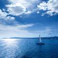 Javea xabia morning light sailboat in alicante mediterranean at spain Royalty Free Stock Photography