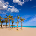 Javea xabia playa del arenal in mediterranean spain beach alicante at palm trees Stock Photo