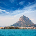 Javea xabia port marina with mongo mountain in alicante spain Royalty Free Stock Photos