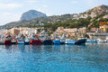 Javea xabia port marina with mongo mountain in alicante spain Stock Images