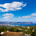 Javea xabia skyline with san antonio cape alicante in mediterranean spain Royalty Free Stock Image