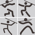 Javelin throw icons summer sports set Stock Photography