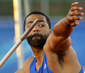 Javelin throw male athlete canada thrower curtis moss at the canadian track field championships june in moncton Stock Images