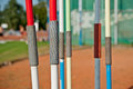 Javelins some javelin on the stadium Royalty Free Stock Images