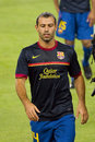 Javier mascherano of fcb in action at the spanish super cup final match between fc barcelona and real madrid on august in camp nou Royalty Free Stock Photos
