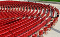 Jay pritzker pavilion in millennium park chicago few men seating and reading empty auditorium of famous Royalty Free Stock Image
