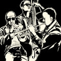 Jazz band with trumpet and double bass vector illustration of a Royalty Free Stock Image