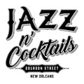 Jazz & Cocktails Bourbon Street New Orleans Typography Royalty Free Stock Photo