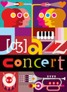 Jazz concert music background abstract collage vector illustration with people musical instruments and inscription design with Royalty Free Stock Photo