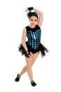 Jazz dancing child en traje del decreto del arlequín Imágenes de archivo libres de regalías
