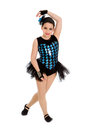 Jazz dancing child in harlequin recital costume a funky girl ini Royalty Free Stock Images