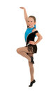 Jazz dancing girl mid step a young routine in recital costume Stock Photo