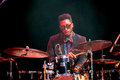 Jazz drummer emanuel harrold at kaunas jazz lithuania april performs the stage of festival Royalty Free Stock Image