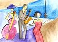 Jazz female bassist, female singer and male saxophonist