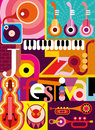 Jazz festival musical abstract collage vector illustration with musical instruments and inscription design with fonts Royalty Free Stock Photos